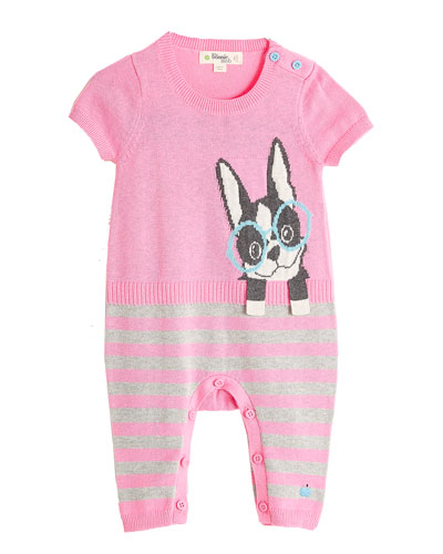 Surf Dog Intarsia Short-Sleeve Playsuit, Pink, Size 0-18 Months