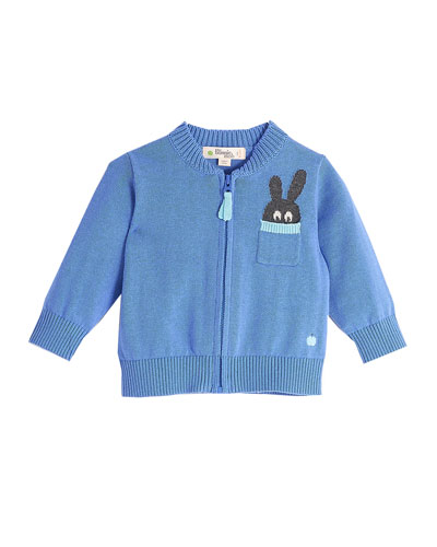 Zip-Up Knit Cardigan w/ Bunny Intarsia Pocket, Blue, Size 6-24 Months