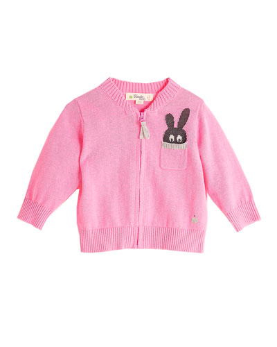 Zip-Up Knit Cardigan w/ Bunny Intarsia Pocket, Pink, Size 3-24 Months