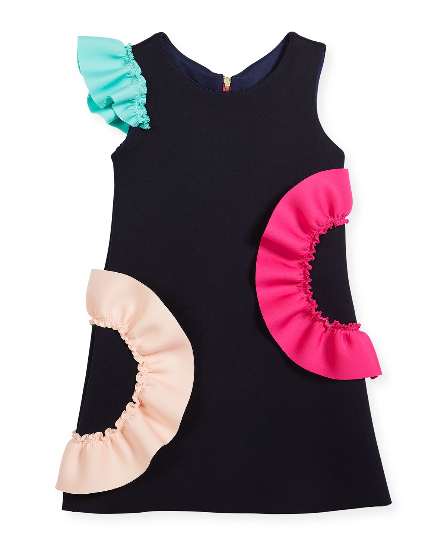 Neoprene Ruffle Shift Dress, Size 7-16