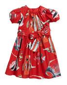 Tropical Fish-Print Puffy-Sleeve Dress, Size 8-12