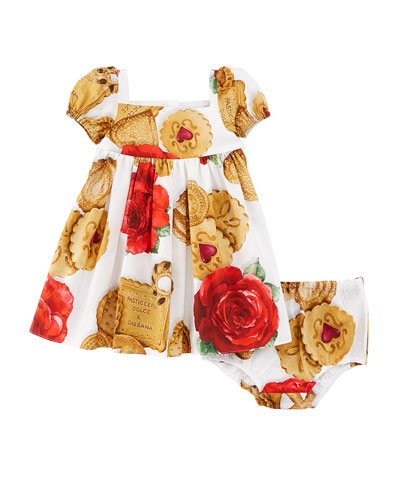 Biscuit & Roses Dress w/ Bloomers, Size 12-30 Months