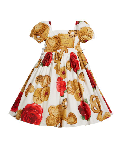 Biscuit & Roses Puffy-Sleeve Dress, Size 8-12