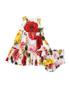 Sleeveless Multi-Rose Dress w/ Bloomers, Size 12-30 Months
