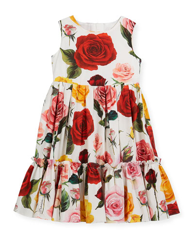 Sleeveless Tiered Multi-Rose Dress, Size 4-6