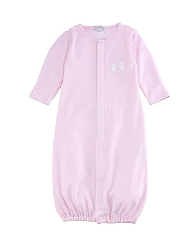 Pique Bunny Ears Convertible Pima Gown, Pink, Size Newborn-Small