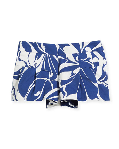 Floral Poplin Pleated Shorts, Size 4-7