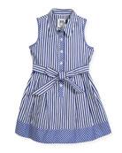 Sleeveless Striped Shirt Dress, Size 4-7