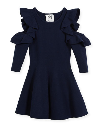 Knit Cold-Shoulder Ruffle Dress, Size 4-7