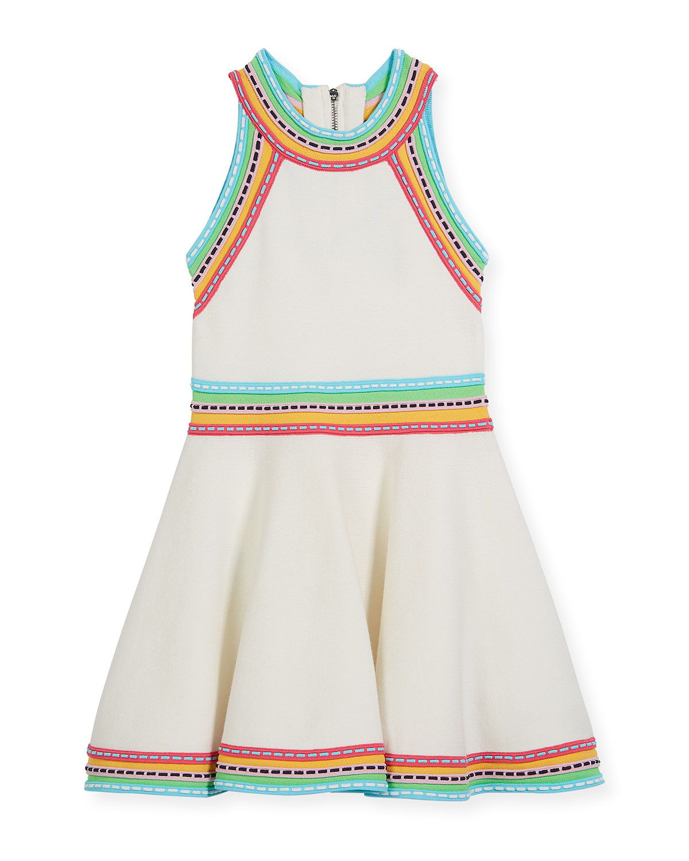 Sleeveless Knit Flare Dress w/ Woven Trim, Size 8-14