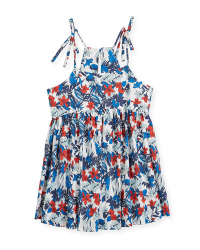 Hibiscus-Print Tank Dress, Size 4-7