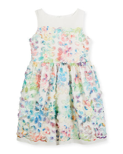 Watercolor Floral Sleeveless Dress, Size 2-4