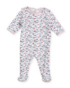 Back-Snap Wave-Print Footie Pajamas, Size Newborn-9 Months