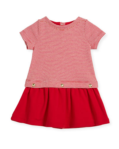 Short-Sleeve Striped Dress w/ Golden Buttons, Size 3-36 Months