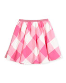 Cotton-Blend Gingham Skirt, Size 3-6