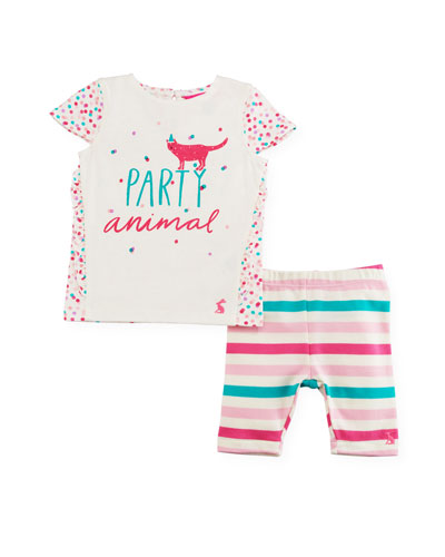 Party Animal Graphic T-Shirt w/ Striped Leggings, Size 3-24 Months