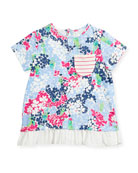 Floral Jersey Short-Sleeve Top, Size 3-6