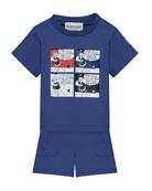 Jersey Cartoon T-Shirt w/ Matching Shorts, Size 12M-3T