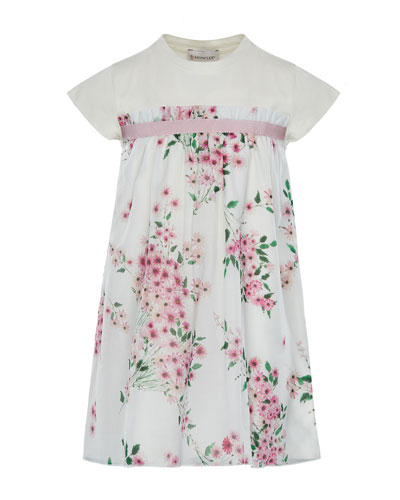 Mini Me Floral Woven & Jersey Dress, Size 4-6