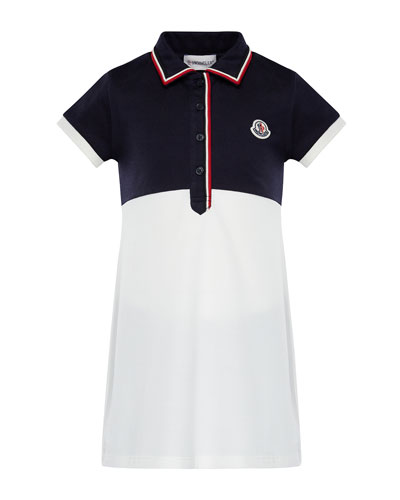 Two-Tone Short-Sleeve Polo Dress w/ Flag Trim, Size 8-14