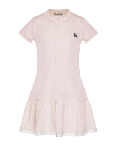 Short-Sleeve Polo Dress w/ Grosgrain Hem, Size 8-14