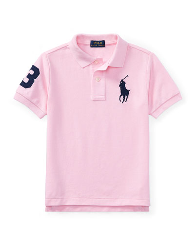 Mesh Knit Polo Shirt w/ Logo Embroidery, Pink, Size 2-4