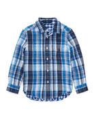 Double Cloth Reversible Plaid Button-Down Shirt, Size 5-7