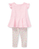 Cotton Batiste Eyelet Top w/ Floral Leggings, Size 9-24 Months