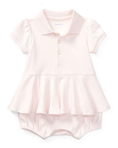 Mesh Peplum Polo Play Dress, Pink, Size 3-18 Months