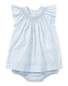 Poplin Floral Smock Dress w/ Bloomers, Size 9-24 Months