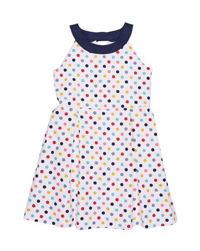 Pique Polka-Dot Dress, Size 7-14