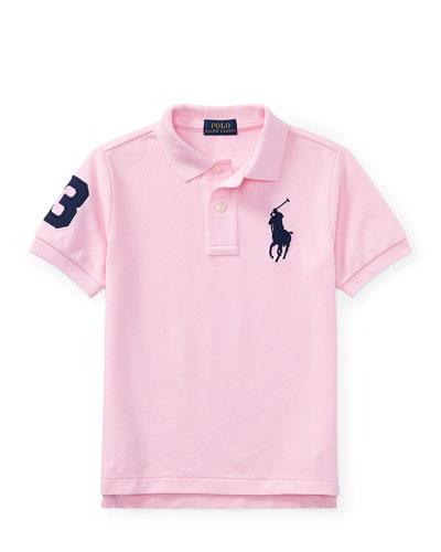 Mesh Knit Polo Shirt w/ Logo Embroidery, Pink, Size 5-7