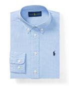 Poplin Check Collared Dress Shirt, Blue, Size 4-7
