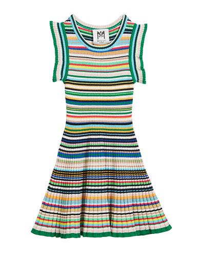 Micro-Stripe Flare Dress, Size 4-7