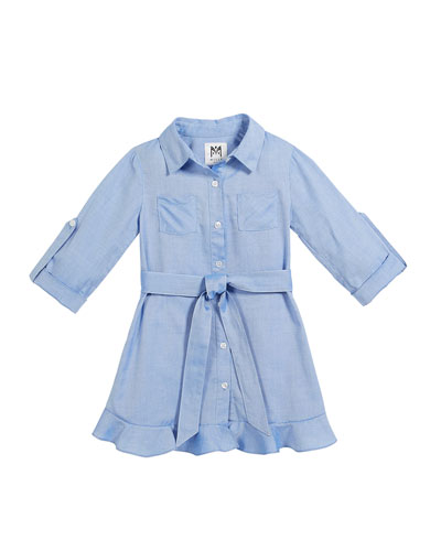 Oxford Shirting Ruffle Dress, Size 4-7