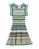 Micro-Stripe Flare Dress, Size 8-14