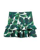 Banana Leaf Ruffle Tiered Mini Skirt, Size 8-14