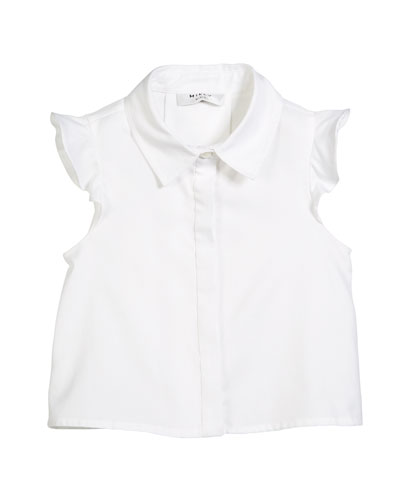 Myla Button-Front Flutter Sleeves Oxford Blouse, Size 8-14