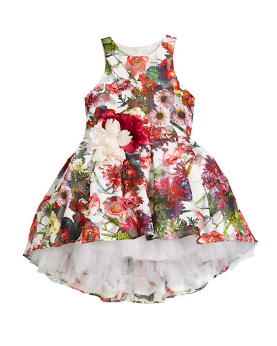Floral Sleeveless Dress w/ Rosettes, Size 4-6