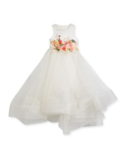 Tea-Length Flower Tulle Dress, Size 8-12