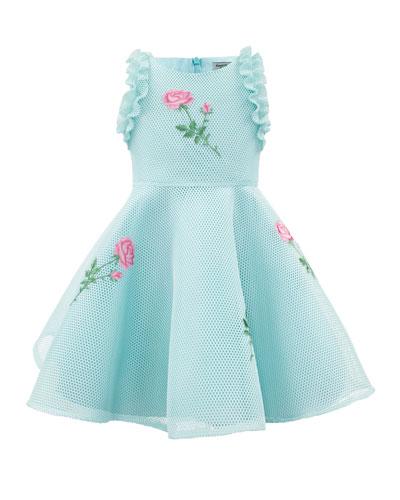 Sleeveless Mesh-Overlay Dress w/ Flower Appliques, Size 4-10