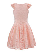 Ruffle-Sleeve Lace Dress, Size 8-16