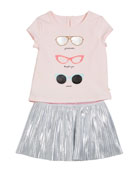 sunglasses tee w/ metallic skirt, size 12-24 months
