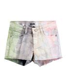 Alisha Tie-Dye Raw-Hem Shorts, Size 4-12