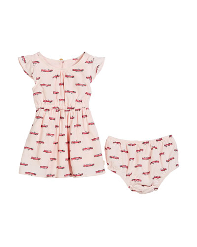 hot rod printed dress w/ bloomers, size 12-24 months