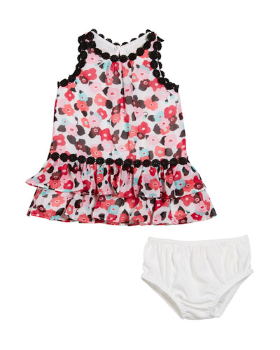 blooming floral crochet-trim dress w/ bloomers, size 12-24 months