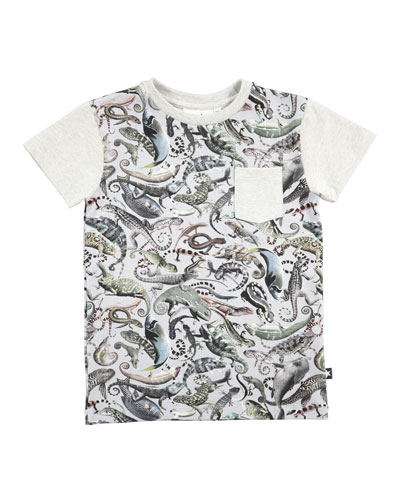 Roman Entangled Mixed-Animal Print Pocket Tee, Size 4-8