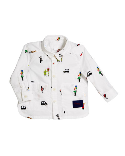 Deccie Embroidered Button-Down Shirt, Size 6M-3