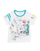 Short-Sleeve Sailing Print T-Shirt, Size 6M-3