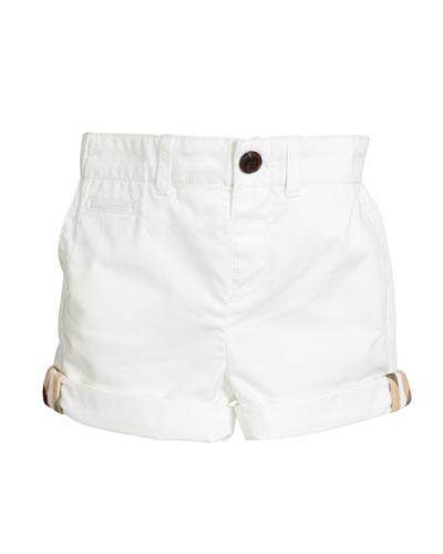 Tina Cotton Shorts, White, Size 12M-3Y